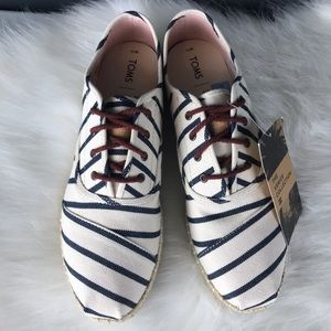 Toms Cordones Stripe Lace Up Rope Shoes 10, 11